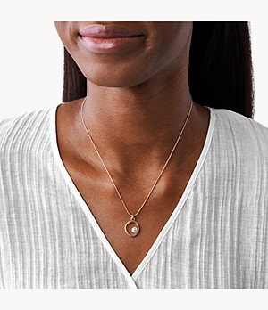 Agnethe Rose-Tone Stainless Steel Pearl Pendant Necklace