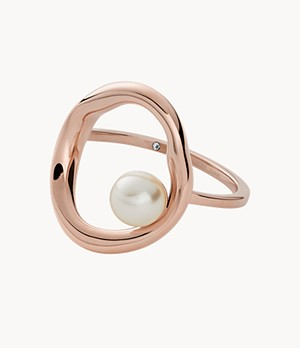 Agnethe Rose-Tone Stainless Steel Pearl Cocktail Ring