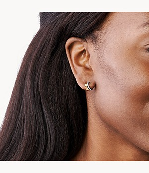 Elin Two-Tone Stainless Steel Hoop Earrings