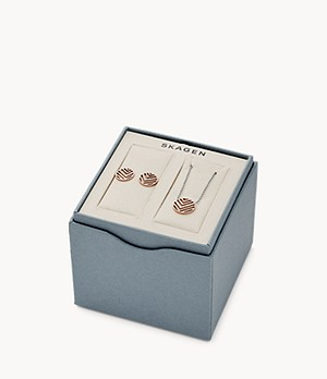 Elin Two-Tone Stainless Steel Necklace + Earring Box Set