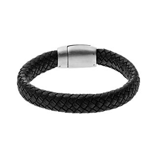 Vinther Black Woven Leather Bracelet