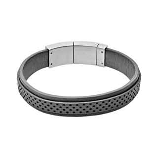 Vinther Black Perforated Leather Bracelet