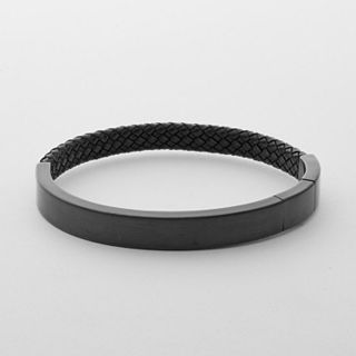 Vinther Steel and Leather Bracelet