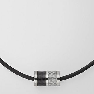 Olaf Cord Necklace with Steel and Carbon Fiber Bead