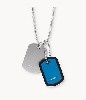 Kvarter Silver-Tone Aluminum Dog Tag Necklace