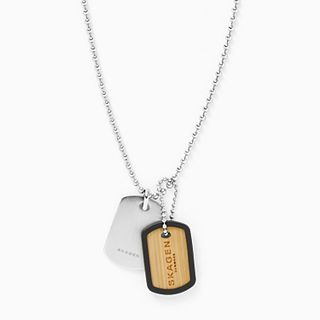 Kvarter Silver-Tone Stainless Steel and Bamboo Necklace