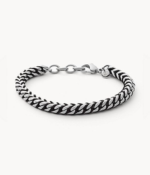 Torben Silver-Tone Stainless Steel and Black Nylon Bracelet