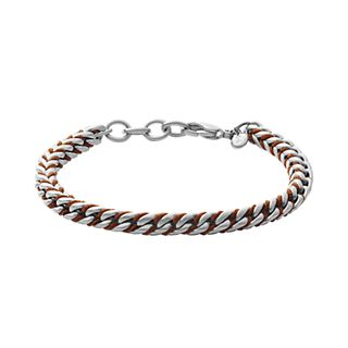 Torben Silver-Tone Stainless Steel and Brown Nylon Bracelet