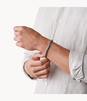 Torben Silver-Tone Stainless Steel and Grey Nylon Bracelet