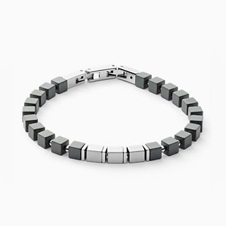 Mikael Silver-Tone Stainless Steel and Hematite Bracelet