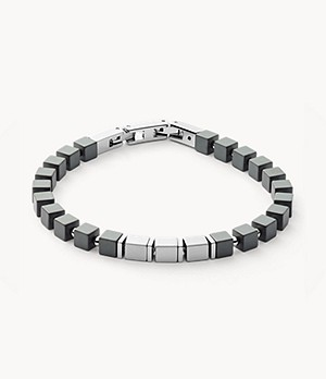 Mikael Silver-Tone Stainless Steel and Haematite Bracelet
