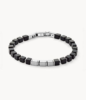 Mikael Silver-Tone Stainless Steel and Agate Bracelet