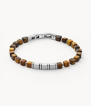 Mikael Silver-Tone Stainless Steel and Tiger's Eye Bracelet