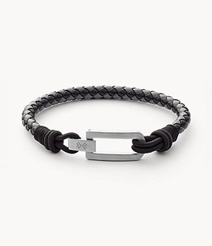 Hulsten Black and Gray Leather Bracelet