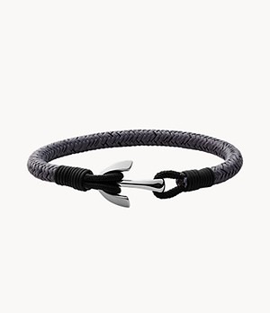 Pendler Silver-Tone Stainless Steel Anchor Strap Bracelet