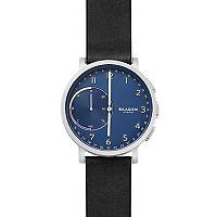 Skagen SKT1123 Hagen Men's Hybrid Smartwatch, Blue Dial with Black Silicone Strap