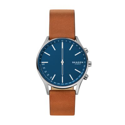 Hybrid Smartwatch Holst Titanium And Brown Leather Skagen