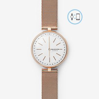 REFURBISHED Hybrid Smartwatch - Signatur T-Bar Rose Gold-Tone Steel-Mesh