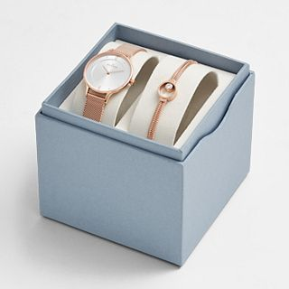 Anita Rose Gold-Tone Steel-Mesh Watch and Elin Bracelet Box Set