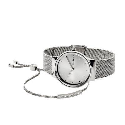 7f206e83a10 Freja Steel-Mesh Watch + Merete Bracelet Box Set - Skagen