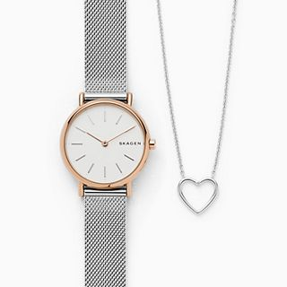 Signatur Steel-Mesh Watch + Katrine Genuine Diamond Necklace Box Set