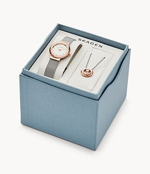 Leonora Two-Hand Silver-Tone Stainless Steel Watch + Necklace Box Set