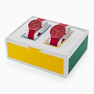 Aaren Kulor Three-Hand Red Silicone Watch Pairs Set