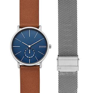 Hagen Three-Hand Brown Leather Watch Set