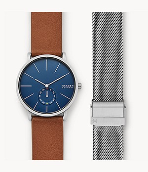 Hagen Three-Hand Brown Leather Watch Set
