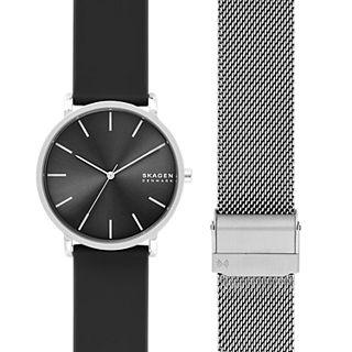 Hagen Three-Hand Black Silicone Watch Set