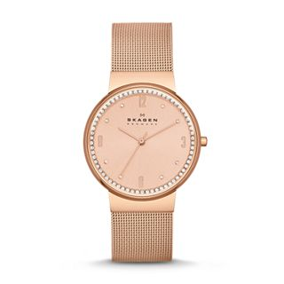 Ancher Crystal Steel Mesh Watch