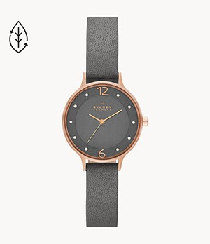 Anita Gray Leather Watch