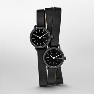 Hagen Dual Time Leather Watch
