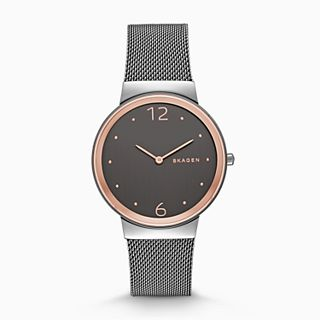 Freja Gray Steel-Mesh Watch