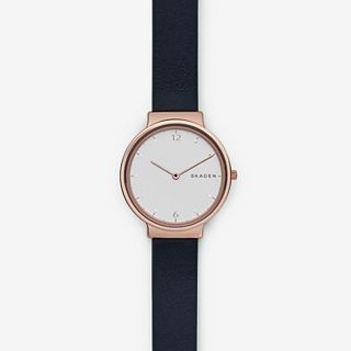 Ancher Dark Blue Leather Watch