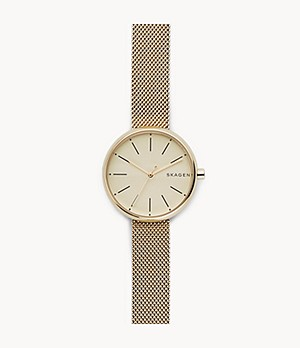 Signatur Gold-Tone Steel-Mesh Watch