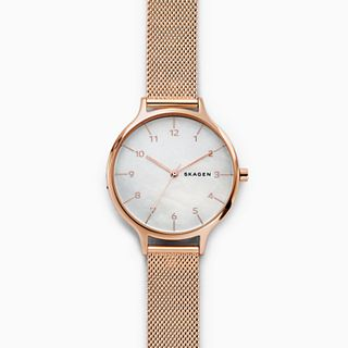 Anita Mother of Pearl Rose-Tone Steel-Mesh Watch
