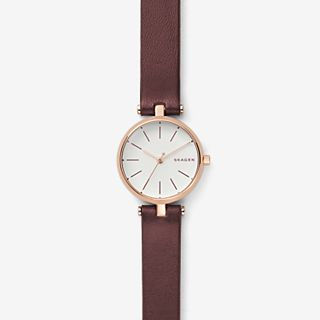 Signatur Maroon Leather T-Bar Watch