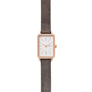 Hagen Mini Rectangular Gray Leather Watch