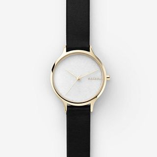 Anita Black Leather Stone Watch