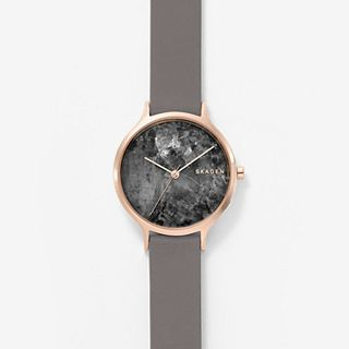 Anita Gray Leather Marble Watch