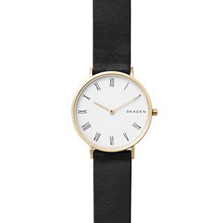 Slim Hald Black Leather Watch