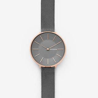Karolina Dark Grey Steel-Mesh Watch