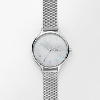 Anita Steel-Mesh Mother of Pearl Watch