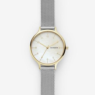 Anita Two-Tone Steel-Mesh Mother of Pearl Watch
