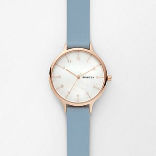 Anita Mother-of-Pearl Blue Leather Watch