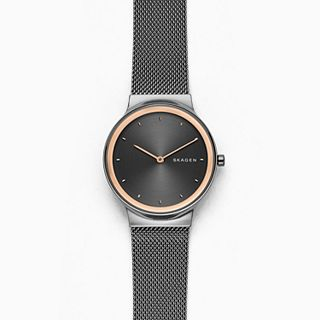 Freja Dark Grey Stainless Steel-Mesh Watch