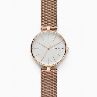 Signatur T-Bar Rose-Tone Steel-Mesh Watch