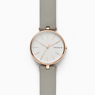 Signatur T-Bar Gray Leather Watch