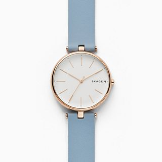 Signatur T-Bar Blue Leather Watch